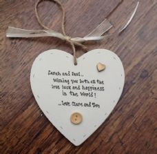 Shabby personalised Gift Chic Heart Plaque Engagement / Wedding Present Gift.